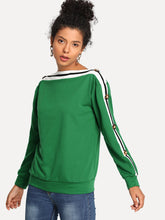 Load image into Gallery viewer, Striped Button Detail Sweatshirt