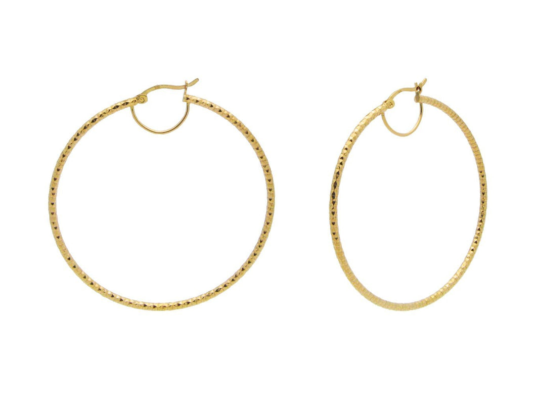 Golden Diamante Cut Hoops (2.13Inches)