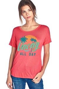 Vacay Mode W Palm Tree Design Short Sleeve Top