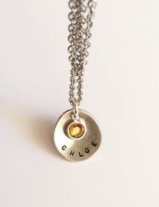 Hand stamped necklace - Mother's necklace -