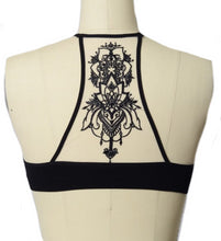 Load image into Gallery viewer, Black Boho Chic Medallion Racerback Bralette