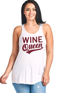 Wine Queen Scoop Neck Flowy Tank Top Plus Size