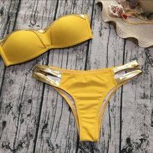 Load image into Gallery viewer, Gold Stamping Bikini Set Sexy Padded Women