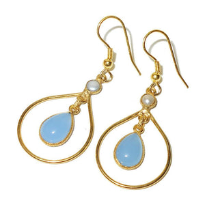 Blue Chalcedony Hoop Earrings