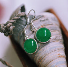 Load image into Gallery viewer, Sterling Silver Canadian Jade Earrings