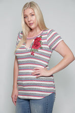 Load image into Gallery viewer, MULTI STRIPE FLOWER EMBROIDERY PLUS SIZE TOP