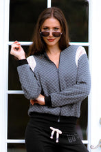 Load image into Gallery viewer, Women's Checkered Mesh Detail Bomber