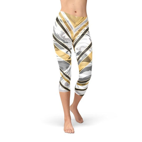 White Marble w/ Black Gold Lines Capri Leggings