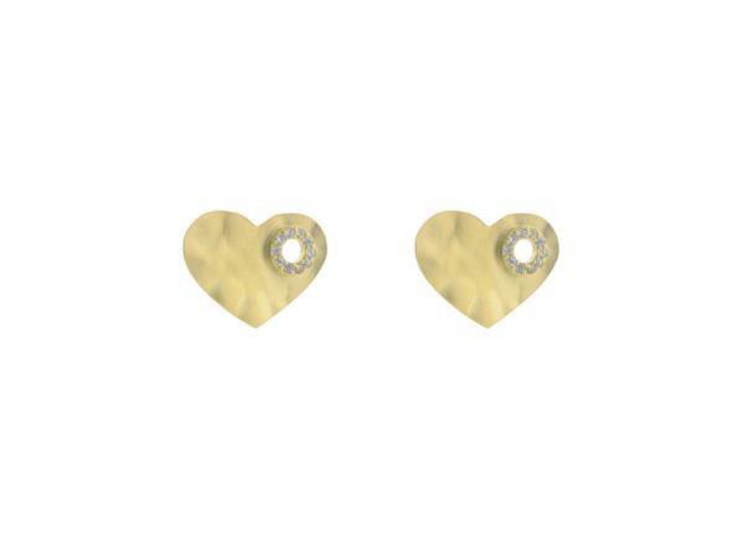 Signature Golden Hammered Heart Stud Earrings