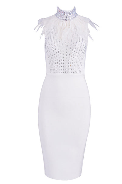 Luxury High Neck Feather Bead Rhinestone Bandage Dress