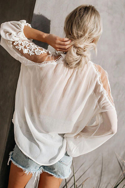 Ruffled Solid Drawstring Lace Blouse