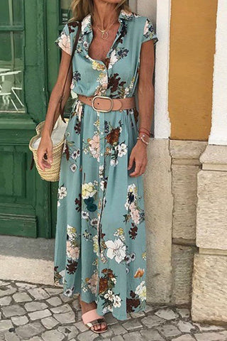 Floral Vintage Button Maxi Dress