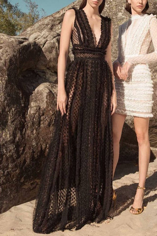 Black See Through V-neck Cutout Long Dress