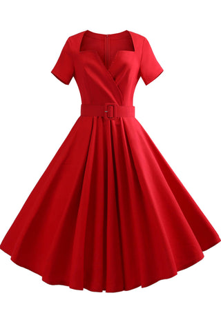 Red V-neck A-line Retro Dress