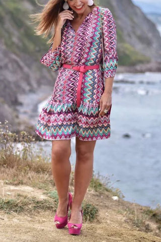 3/4 Sleeves V-Neck Print Boho Dress
