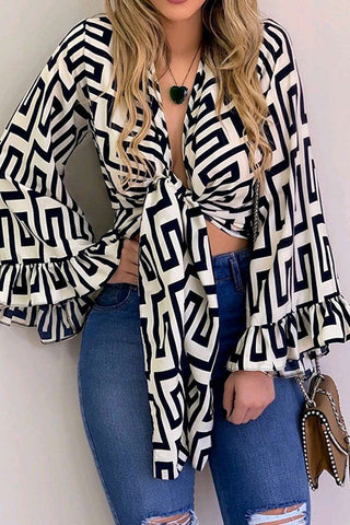 Geometric Print Lace-up Blouse