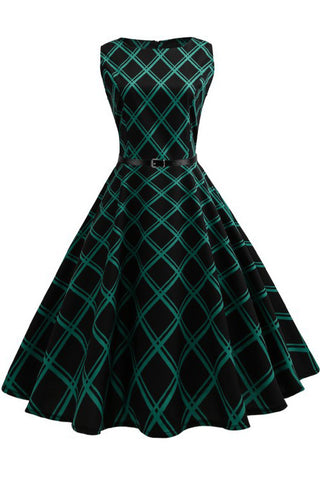 Hepburn Vintage Sleeveless Belted Dress