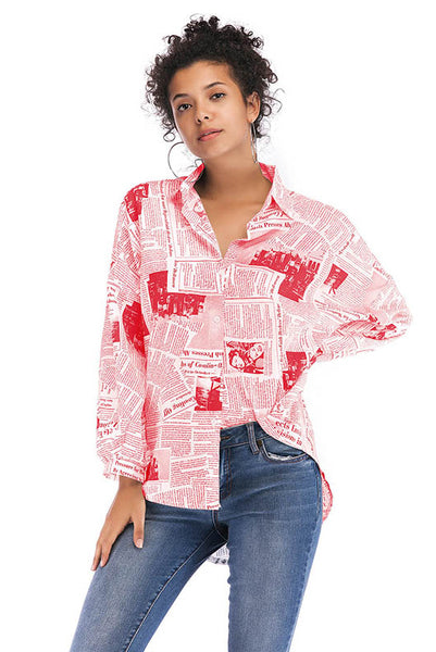Alphabet Printed Single Breasted Lapel Paper Blouse
