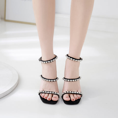 Ankle Strap Open-toe Square Head Sandals With Rhinestone