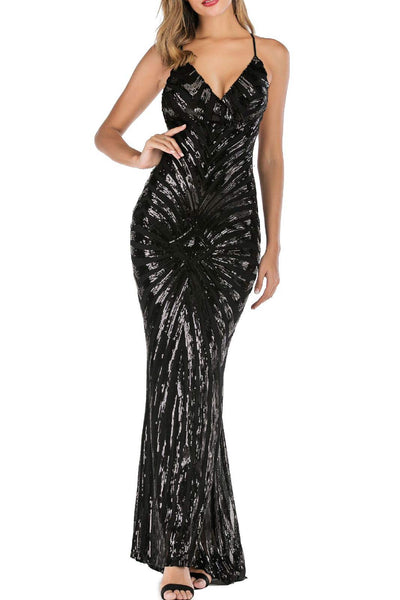 Backless Mermaid Bodycon Sequins Long Dress