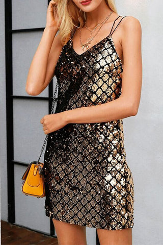 Gold Sleeveless Sequins Mini Dress