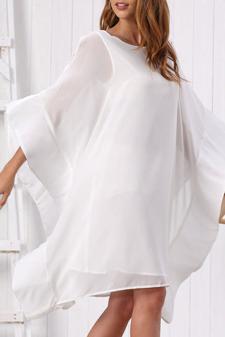 Batwing Sleeves Plain Chiffon Dress