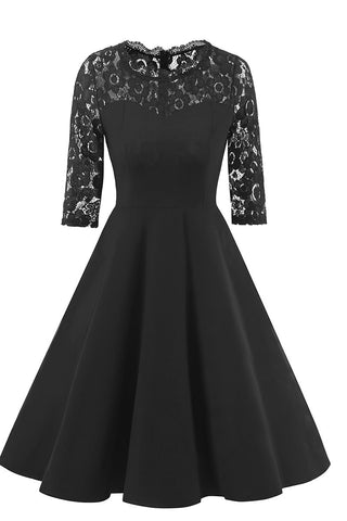 Black A-line Lace Fit And Flare Prom Dress With Half Sleeves - Mislish