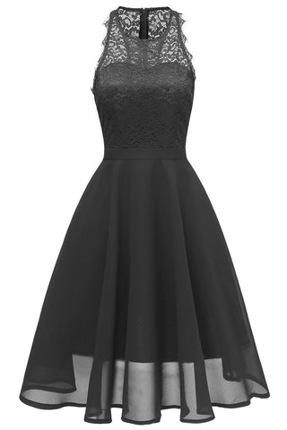 Black A-line Lace Midi Sleeveless Prom Dress - Mislish