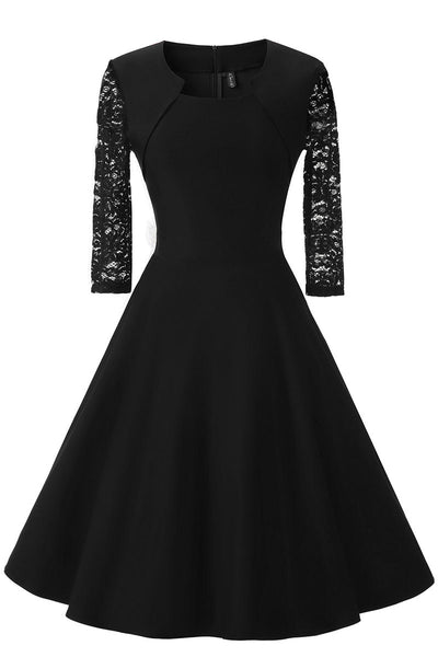 Black A-line Prom Dress WIth Half Sleeves