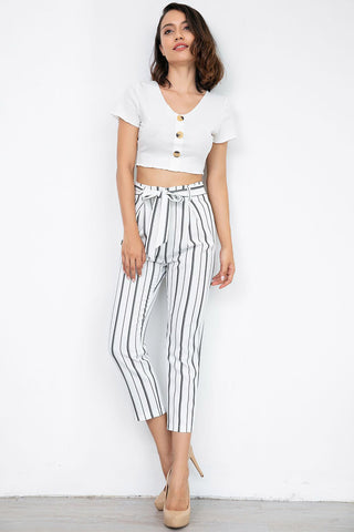 Black And White Striped Empire Belted Pants