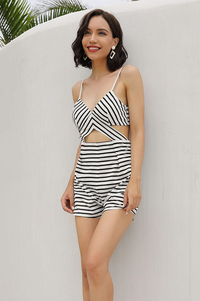 Black And White Striped Lace-up Cutout Empire Romper