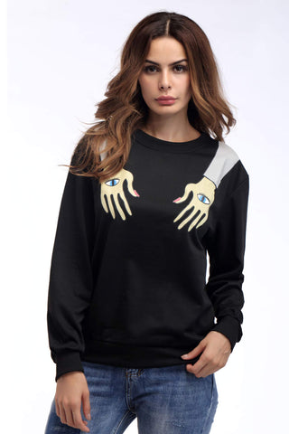 Black Arm Print Pullover Sweatshirt