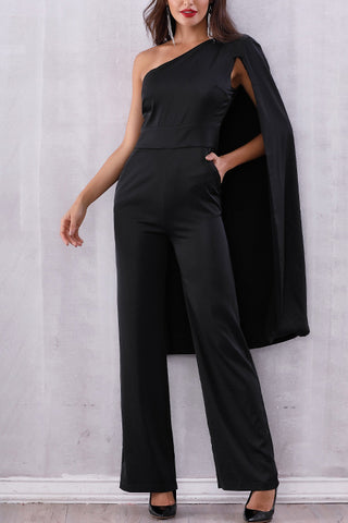 Black Batwing Sleeve Fitting Jumpsuit