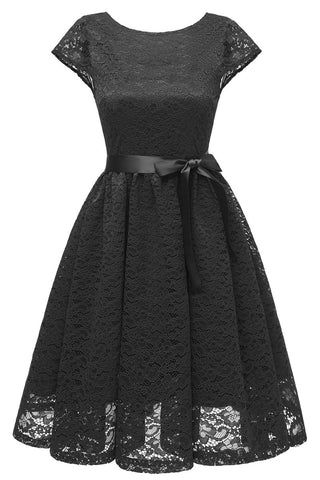 Black Cap Sleeves Lace Short Sweet 16 Dress - Mislish