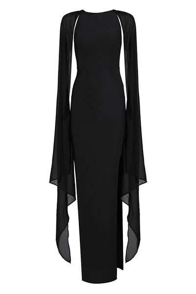 Black Capped Sleeves Long Thigh-high Slit Bandage Dress