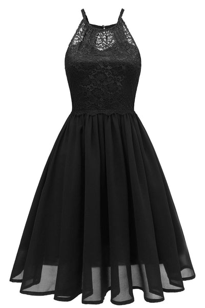 Black Cut Out A-line Homecoming Dress