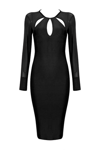 Black Cut Out Bandage Dress With Long Sleeves