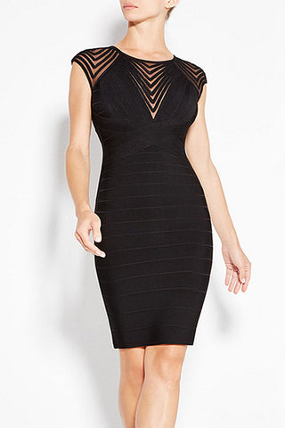 Black Cut Out Cap Sleeves Short Bandage Prom Dress - Mislish