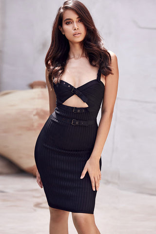 Black Cut Out Spaghetti Straps Mini Bandage Dress