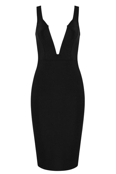 Black Deep V-neck Bandage Party Dress