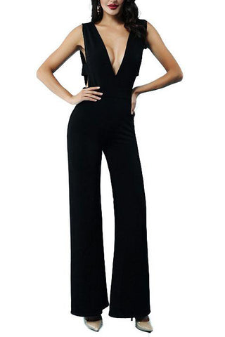 Black Deep V-neck Empire Waist Jumpsuit