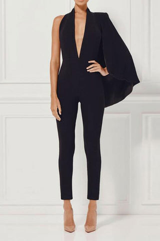 Black Deep V-neck Halter Jumpsuit - Mislish