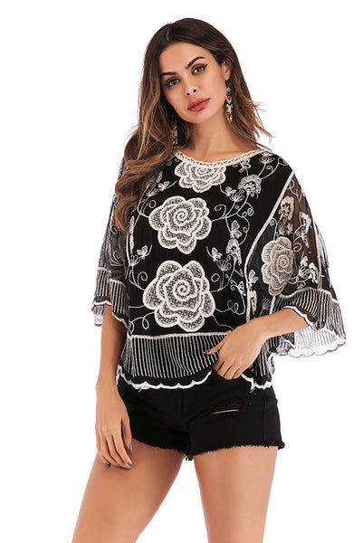 Black Embroidered Lace Chiffon Blouse