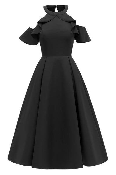 Black Fit And Flare Ruffled Off-the-shoulder Homecoming Dress