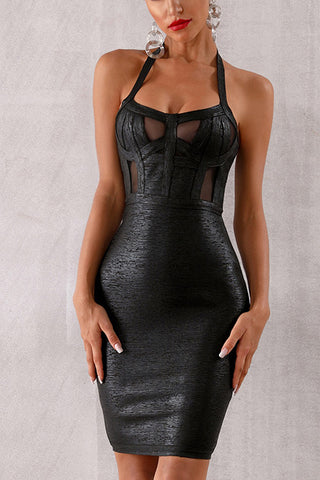 Black Halter Sleeeveless Mini Bandage Dress