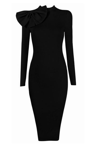 Black High Neck Bandage Dress With Long Sleeves