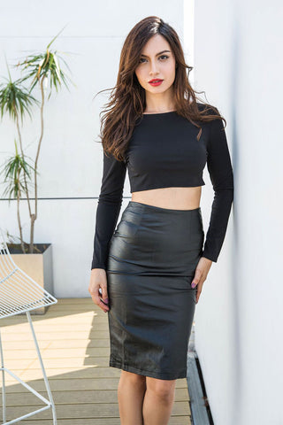 Black High Waist Fitted Leather Skirt