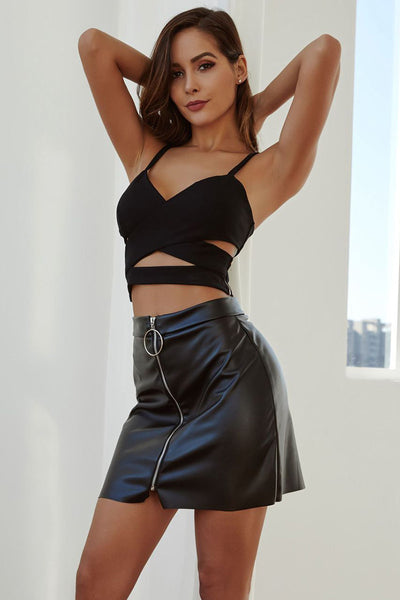 Black High Waist Zipper Up Fitted Leather Skirt
