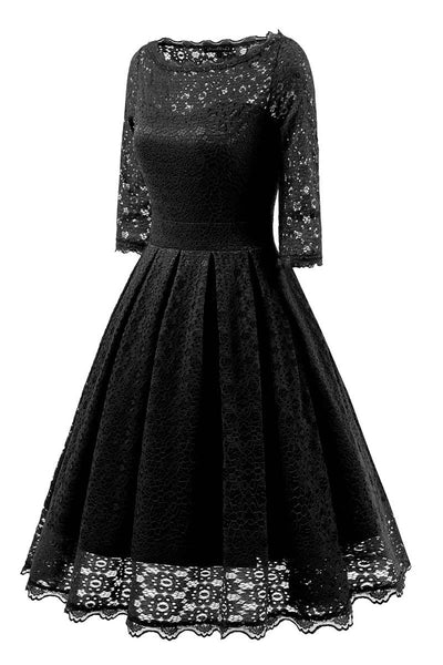 Black Lace A-line Prom Dress With Sleeves - Mislish