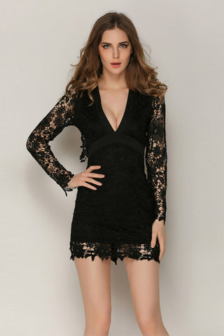 Black Lace Deep V-neck Backless Lace-up Mini Dress